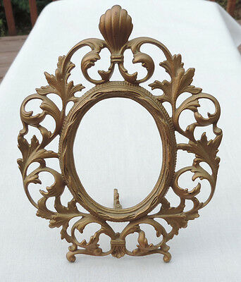 Antique Victorian Ornate Bronze Gold Cast Iron Easel Table Top Picture Frame