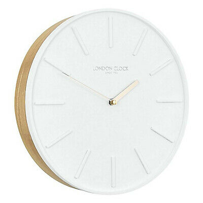 London Clock Company Lagom Silent Sweep Oak Wood Wall Clock 30cm **FREE DELIVERY