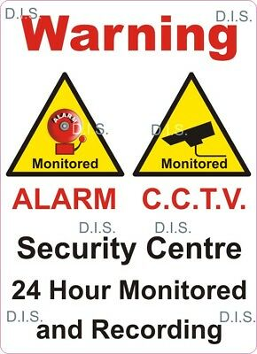 static cling vinyl cctv Warning Security Centre 24 Hour Monitored and Recording