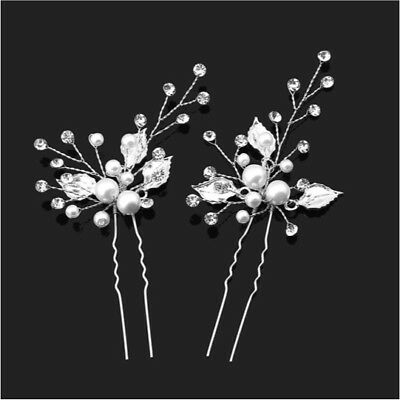 Bridal Flower Hair Wedding Diamante Crystal Pearl Hair Pin X 1