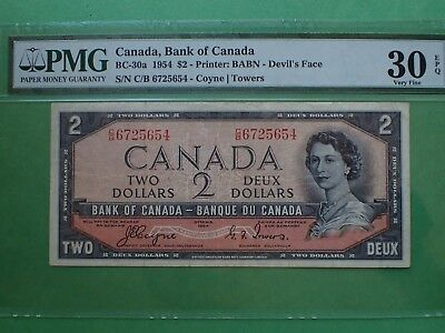 1954, 2 Dollars,  Devil's face,Coyne-Towers,  VF 30,...654, PMG,  BC-30a Canada
