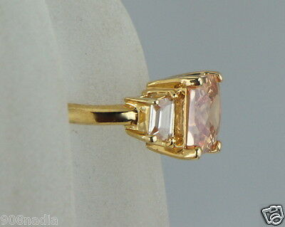 Vintage Gold Plated,princess Cut Peach  & White Rhinestone Ring Size 6,25