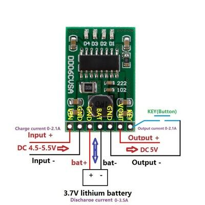 Charge Discharge Boost 5V/2.1A Protection 3.7V 4.2V Battery DC-DC UPS DIY Module