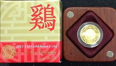 2017 $10 gold proof coin - year of the rooster 1/10 oz 99.99 gold