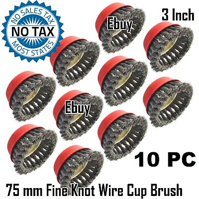 """10 pc 3"""" Knot Wire Cup Brush, Threaded Arbor 5/8"""" - 11, 3 Inch Twist Cup Brush"""