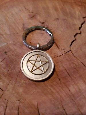 Pentagram Pewter Keyring Witch Wicca Pagan
