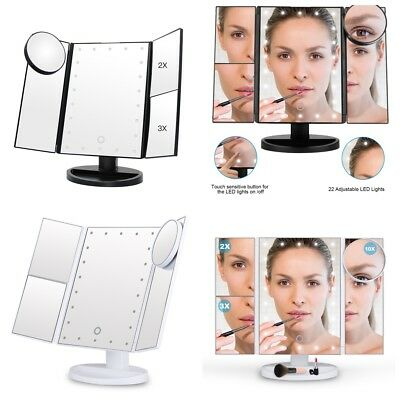 Tri-Fold 21 LED Vanity Makeup Mirror Lighted Touch Screen Magnifying Countertop