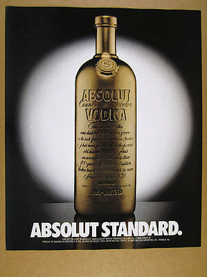 1989 Absolut Standard gold vodka bottle art vintage print Ad