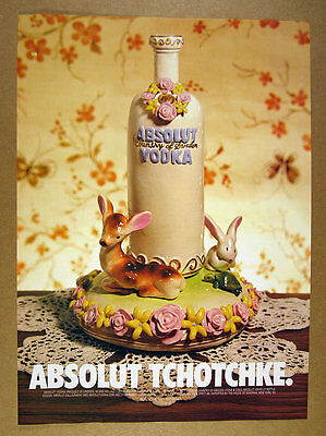 1998 Absolut Tchotchke vodka bottle figurine photo vintage print Ad