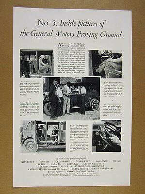 1929 General Motors GM Proving Grounds engineers & car 5x photo vintage print Ad