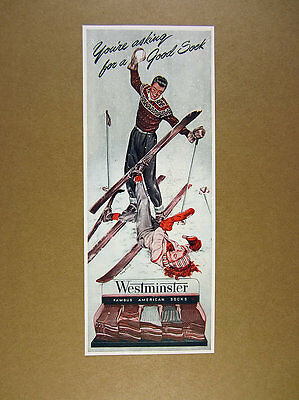 1946 man woman art 'You're Asking for a Good Sock' Westminster Socks vintage Ad