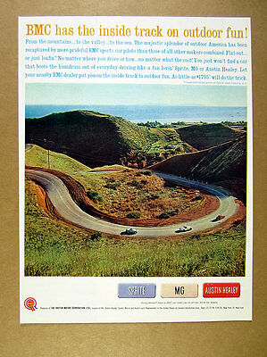 1961 Sprite MG & Austin Healey blue white red cars hairpin turn vintage print Ad