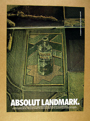 1991 Stan Herd Absolut Vodka Bottle crop art earthworks photo print Ad