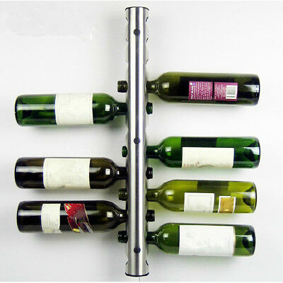 Wine Bottle Rack Pipe Holder Stand 12 Layer Stainless Steel Wall Mounted Bar New