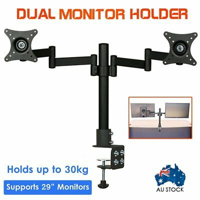 Dual HD LED Desk Mount Monitor Stand 2 Arm Display Bracket LCD Screen TV Holder