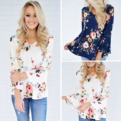 Fashion Women Ladies Loose Casual Long Sleeve T-Shirt Floral Blouse Tops T-Shirt