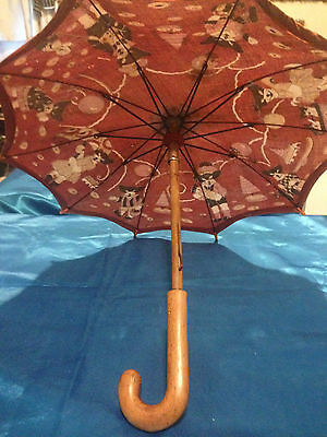 Vintage French Doll Parasol Cats or Dogs? Scenery on a Pink Background