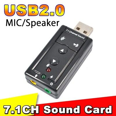 USB 2.0  7.1CH Audio External Sound Card Adapter 3D Virtual Win7 8 OS Mac Linux