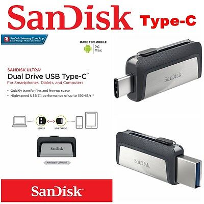 Type C USB 3.1 SanDisk 32GB 64G 128G 256 16G Dual Flash Drive Stick Thumb PC Mac