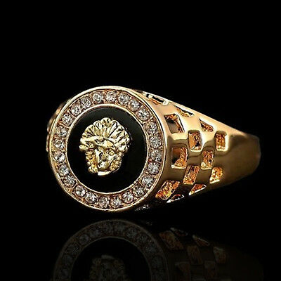 Chevalière Bague Or Style Medusa Crystal Ring Gold Black Noir Mixte UK