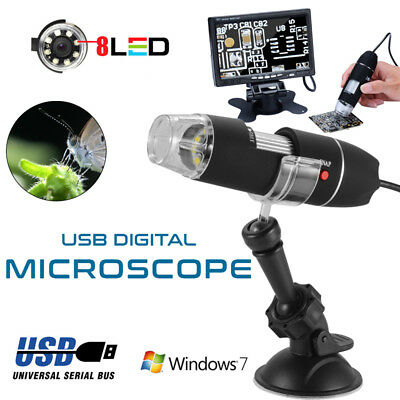 MICROSCOPIO USB DIGITALE 40X-1000X PC NOTEBOOK FOTO VIDEO 8 LED Nero