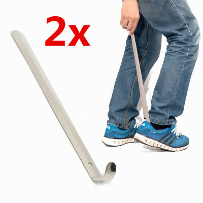 2X Stainless Steel Shoe Horn Long Handle Shoehorn Lifter Flexible Aid Stick 50cm