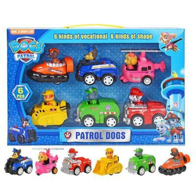6pcs PAW PATROL Vocational Dogs Cute Figure Toy Set Mini Pull Back Model Car Toy