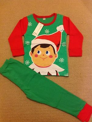 Babies Boys Girls Unisex Elf Christmas 2 piece Pyjamas Pjs on the Shelf 1-7 Yrs