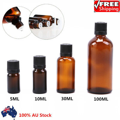 5/10/30/100ML Amber Glass Essential Oil Bottle With Euro Dropper forAromatherapy
