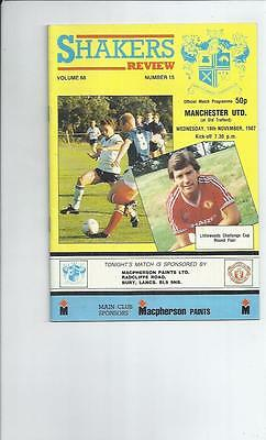 Bury v Manchester United Littlewoods Cup Football Programmes 1987/88