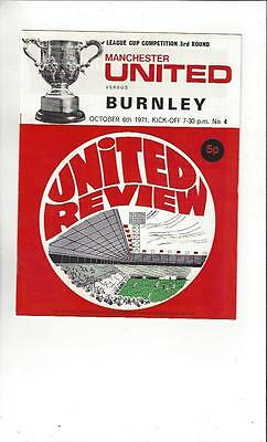 Manchester United v Burnley League Cup 1971/72 Football Programme
