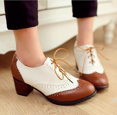 HOT Casual Womens Brogue Pumps Block Mid Heel Oxfords Wing Tip Lace Up Shoes