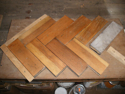 Reclaimed solid pine parquet block flooring