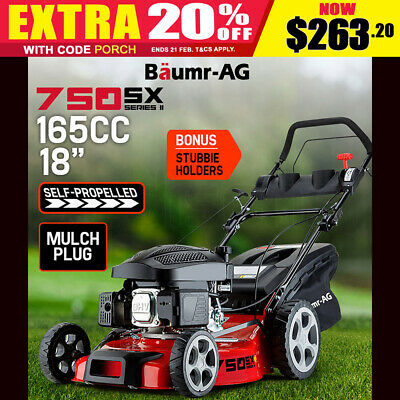 "NEW Baumr-AG 18"" Lawn Mower Self Propelled 165cc 4 Stroke Lawnmower Petrol Grass"