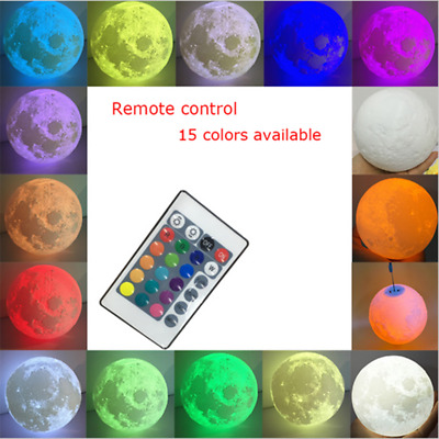 Colour Changing Moon Lamp Remote Control LED Kid's Desk Night Light Decor
