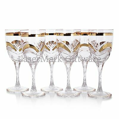 Bohemian Crystal & Gold Wine Glass Set