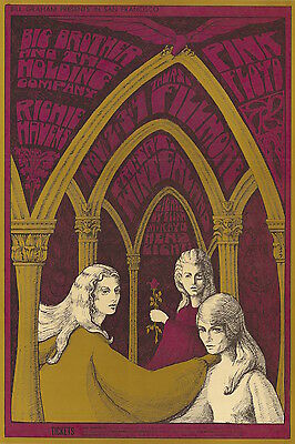 MINT Pink Floyd Janis Joplin 1967 FIRST US SHOWS Fillmore Poster AND Tickets