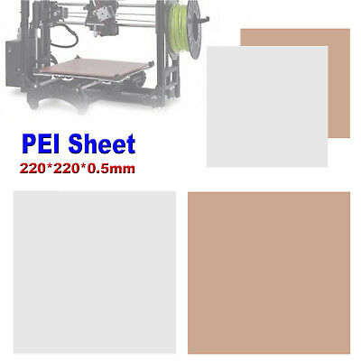 220 x 220 x 0.5mm Clear PEI Sheet for 3D Printing Build Surface w/ 3m 468MP Tape