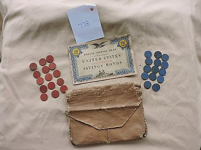 Vintage  WWII War Ration Book,Tokens and Pouch