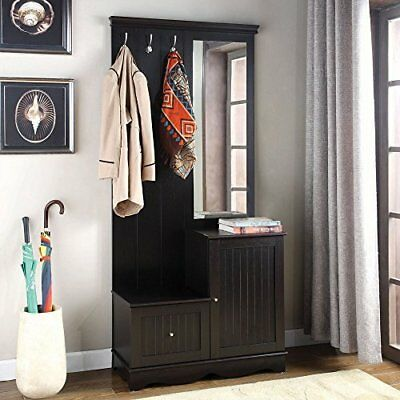 Home Furniture Highland Hall Tree Wooden Construction w/ Mirror Hangers Drawer