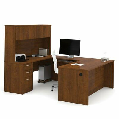 "Bestar Embassy 71"" U-Desk with Hutch in Tuscany Brown"