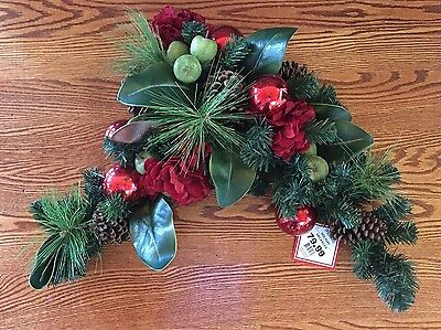 Michaels Pine Branch Red Flower Apple Swag Arrangement Wreath~New~Rv$79
