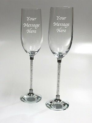 Brand New Pair of Crystal Stem Champagne Glass Flutes in Box - Ideal Gift