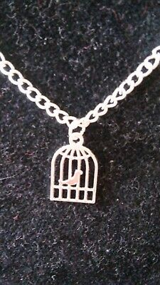 Girl's 16 Inch Antique Silver Bird Cage Necklace With Pink Organza Gift Bag