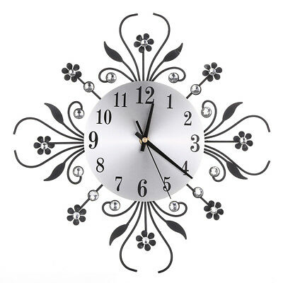 Modern Metal Diamonds Flower Silent 3D Wall Clock For Office House Living Room