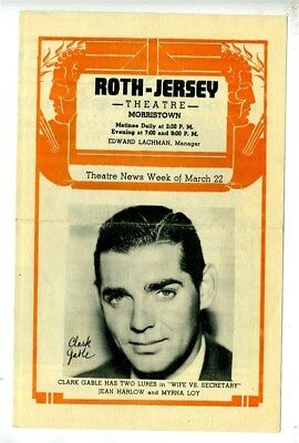 Roth Jersey Theatre 1936 Coming Attractions Morristown Gable Harlow Loy Karloff
