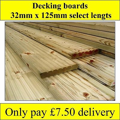 TREATED TIMBER DECKING BOARDS CHUNKY 32x125mm  Natural wood all lengths