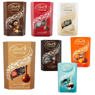 Lindt Lindor Assorted, Coconut, White, Dark And Orange Chocolate Truffles
