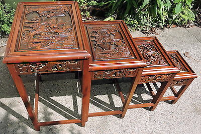 Vintage Oriental Carved Nest of 4 Tables with Glass Top