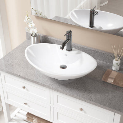 MR Direct Vitreous China Oval Vessel Bathroom Sink with Faucet and Overflow
